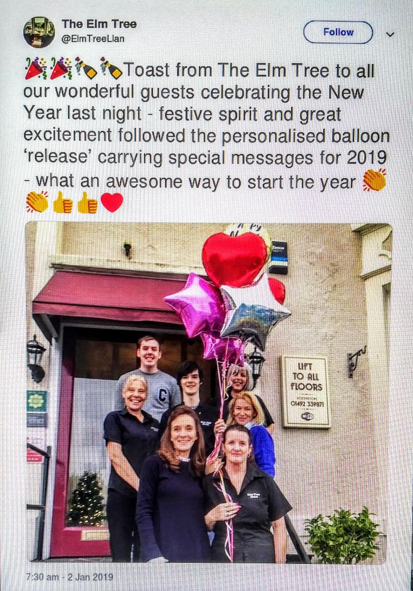 Elm Tree Hotel, Llandudno, Balloon Release, New Years Eve, pollution, environment, Rosemary Lunn, Roz Lunn, X-Ray Mag, XRay Magazine, scuba diving news