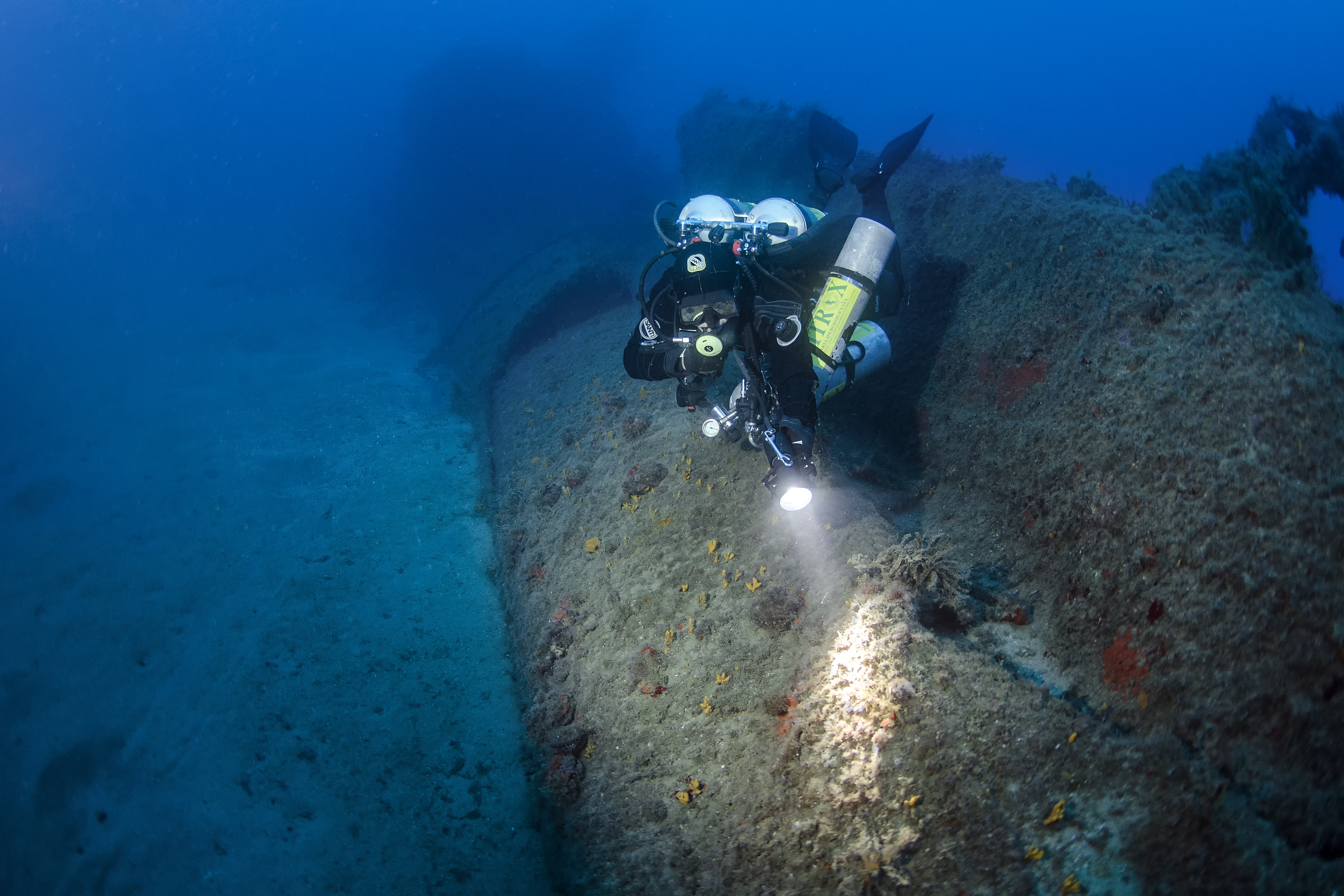 IANTDExpeditions diver on the Scirè submarine wreck. Photo by A. Dabalà / IANTD S.r.l.